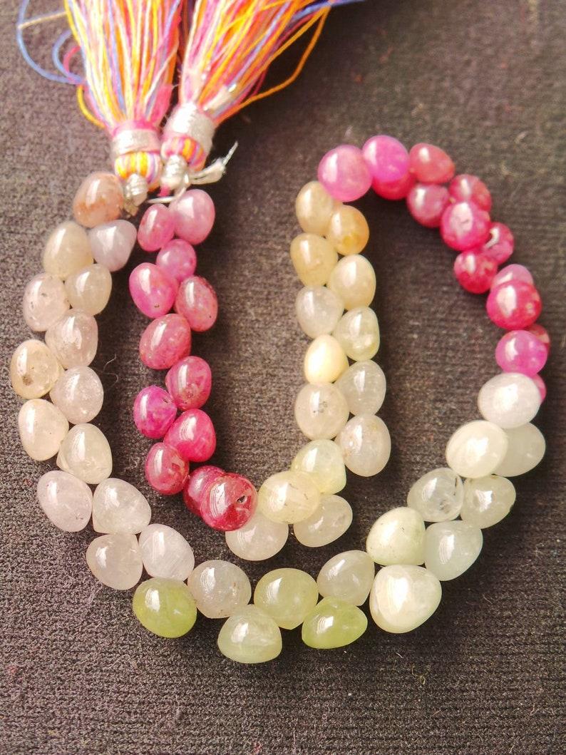 Natural Multi Sapphire Gemstone Briolettes-Multi Sapphire Smooth Onion Briolettes-5.5-7 MM-9 Inches-Jewellery Supply-Wholsalegemstone
