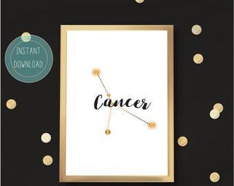 Minimalist CANCER Constellation Printable Art