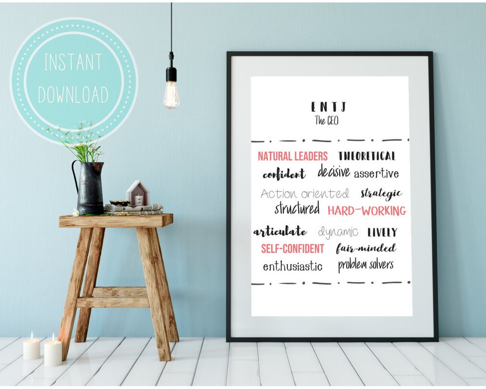 Myers Briggs ENTJ Traits minimalist printable art | word art | home decor |  personality art | gifts for him | gifts for her |