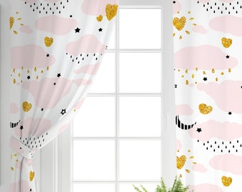 Pink Curtain Gold Star Home Decoration Fabric Curtains Children Room Curtaincurtainlight Curtaincloudy