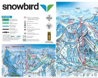 Snowbird Trail Map Etsy