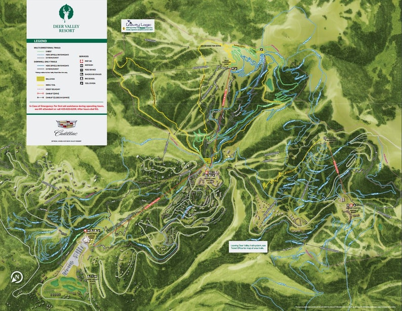 2018 DEER VALLEY Mountain Bike Trail Map | Etsy Deer Valley Mountain Map on