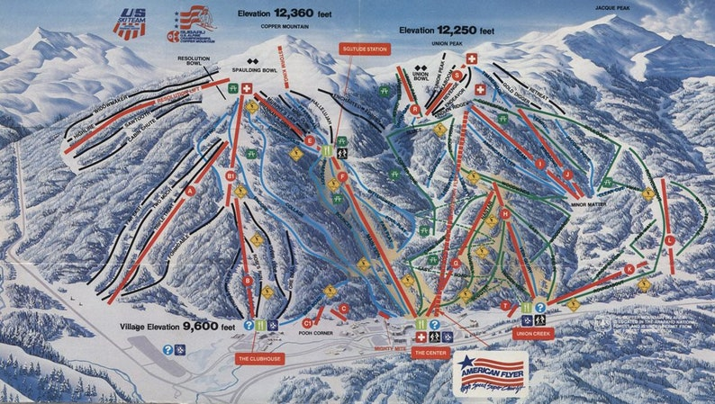 1986 COPPER MOUNTAIN Ski Map