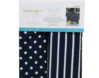 Dots & Stripes Tea Towels -Navy by Kimberbell