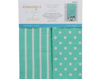 Dots & Stripes Tea Towels - Aqua by Kimberbell