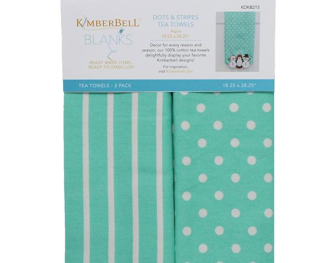 Dots & Stripes Tea Towels - Aqua by Kimberbell