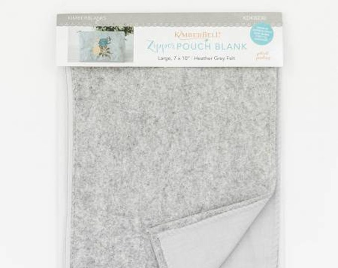 Zipper Pouch Blank (Large) - Heather Grey Felt by Kimberbell