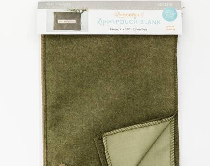 Zipper Pouch Blank (Large) - Olive Felt by Kimberbell