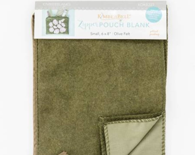 Zipper Pouch Blank (Small) - Olive Felt by Kimberbell