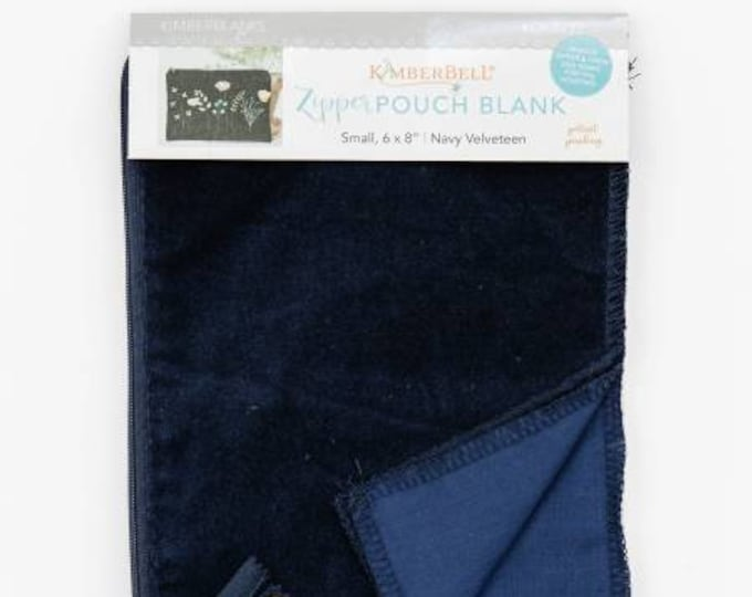 Zipper Pouch Blank (Small) - Navy Velveteen by Kimberbell