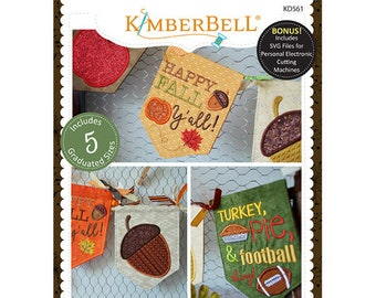 Happy Fall Y'all Pennants and Banners Machine Embroidery CD by Kimberbell