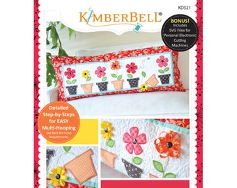 May Flowers Bench Pillow Machine Embroidery CD by Kimberbell