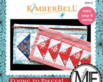 Flying To Pieces! Zipper Pouches (Size Large and Jumbo) Machine Embroider CD by Kimberbell
