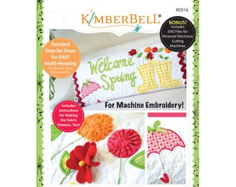 Welcome Spring Bench Pillow Machine Embroidery CD by Kimerbell