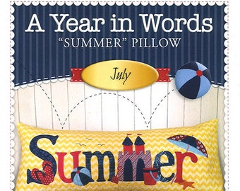 """A Year In Words """"Summer"""" Bench Pillow Pattern by Shabby Fabrics"""