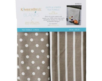 Dots & Stripes Tea Towels - Gray by Kimberbell