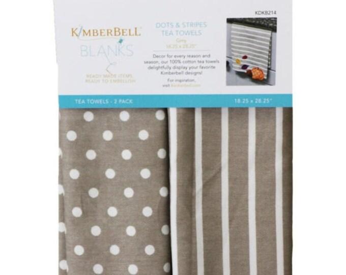 Dots & Stripes Tea Towels - Gray by Kimberbell