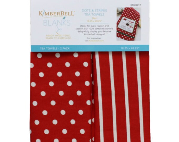 Dots & Stripes Tea Towels - Red by Kimberbell