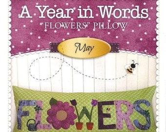 """A Year In Words """"Flowers"""" Bench Pillow Pattern by Shabby Fabrics"""