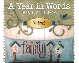 "A Year In Words ""Family"" Bench Pillow Pattern by Shabby Fabrics"