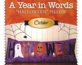 """A Year In Words """"Halloween"""" Bench Pillow Pattern by Shabby Fabrics"""