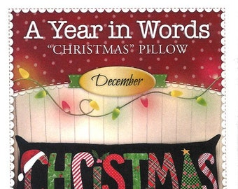 "A Year In Words ""Christmas"" Bench Pillow Pattern by Shabby Fabrics"