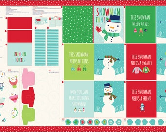 "Snow Day Snowman 60"" Wide Book Panel by Stacey Iest Hsu for Moda"