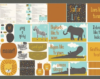 Safari Life Multi Cut & Sew Book Quilt Panel