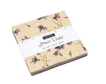 FREE SHIPPING Sweet Violet Charm Pack by Jan Patek for Moda
