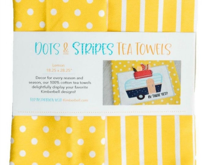 Dots & Stripes Tea Towels - Lemon by Kimberbell