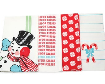 Sweet Christmas Tea Towel Set by Urban Chiks for Moda Home (Set of 4)