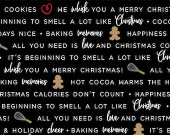 We Whisk You A Merry Christmas - Black Holiday Baking Phrases by Kimberbell