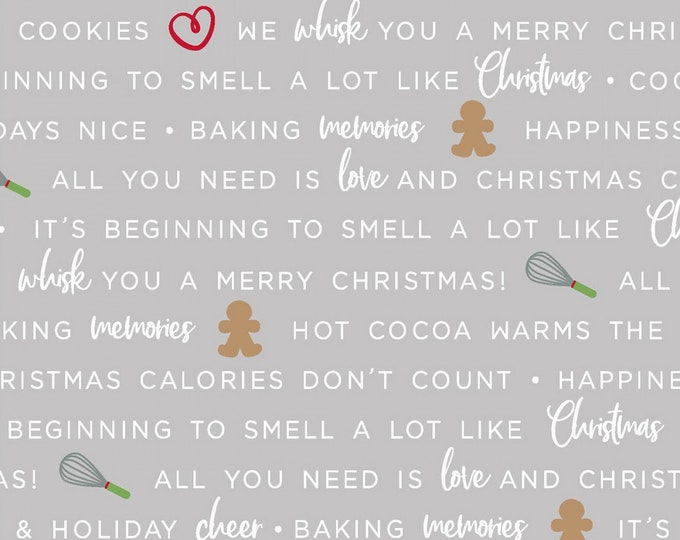 We Whisk You A Merry Christmas - Grey Holiday Baking Phrases by Kimberbell