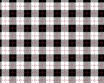 We Whisk You A Merry Christmas - Black/Ultra White Buffalo Plaid by Kimberbell