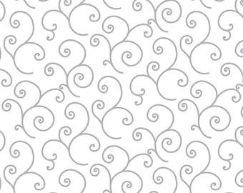 Kimberbell Basics White/Gray Scroll