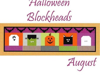 "Free Shipping! ""Halloween Blockheads"" Riley Blake Table Runner of the Month - August"