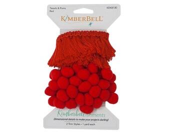 Kimberbellishments Red Tassels & Pom Poms Trim