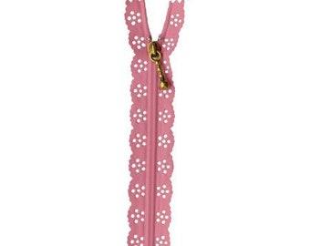 Pink Lace edge zipper 20cm length