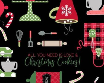 We Whisk You A Merry Christmas - Black Christmas Baking by Kimberbell