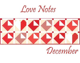 "Free Shipping! ""Love Notes"" Riley Blake Table Runner of the Month Kit - December 2019"