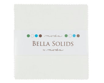 FREE SHIPPING Bella Solids Charm Pack - White by Moda