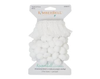 Kimberbellishments White Tassels & Pom Poms Trim