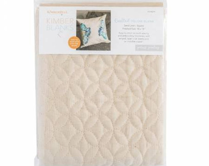 Quilted Pillow Cover Blank 19inx19in Sand Linen Orange Peel Quilting By Kimberbell