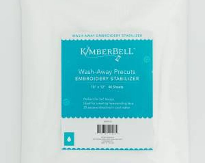 """Wash-Away Precuts Embroidery Stabilizer (10 x 12"""" sheets) by Kimberbell"""
