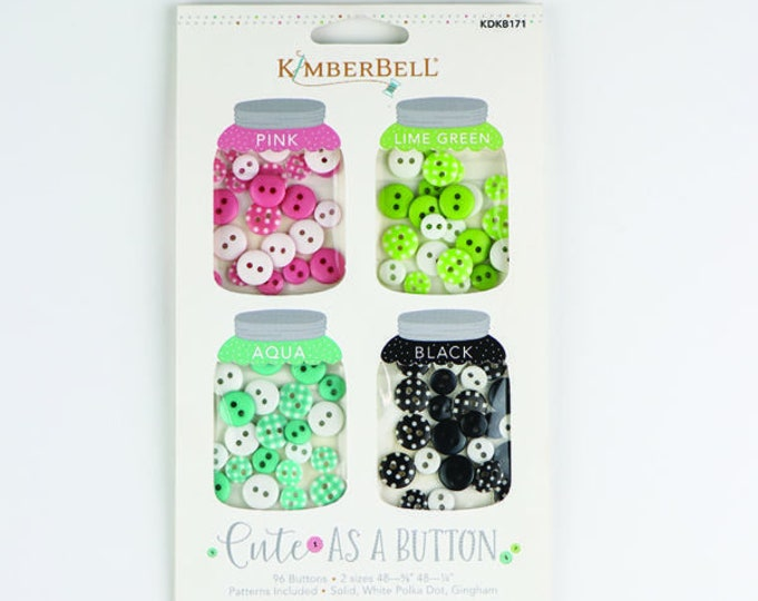 Cute As a Button (pink, lime green, aqua, black) by Kimberbell