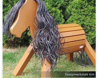 Holzpferd Apollo 90 cm in schokobraun Voltigierpferd Holzpony Schaukelspielzeug