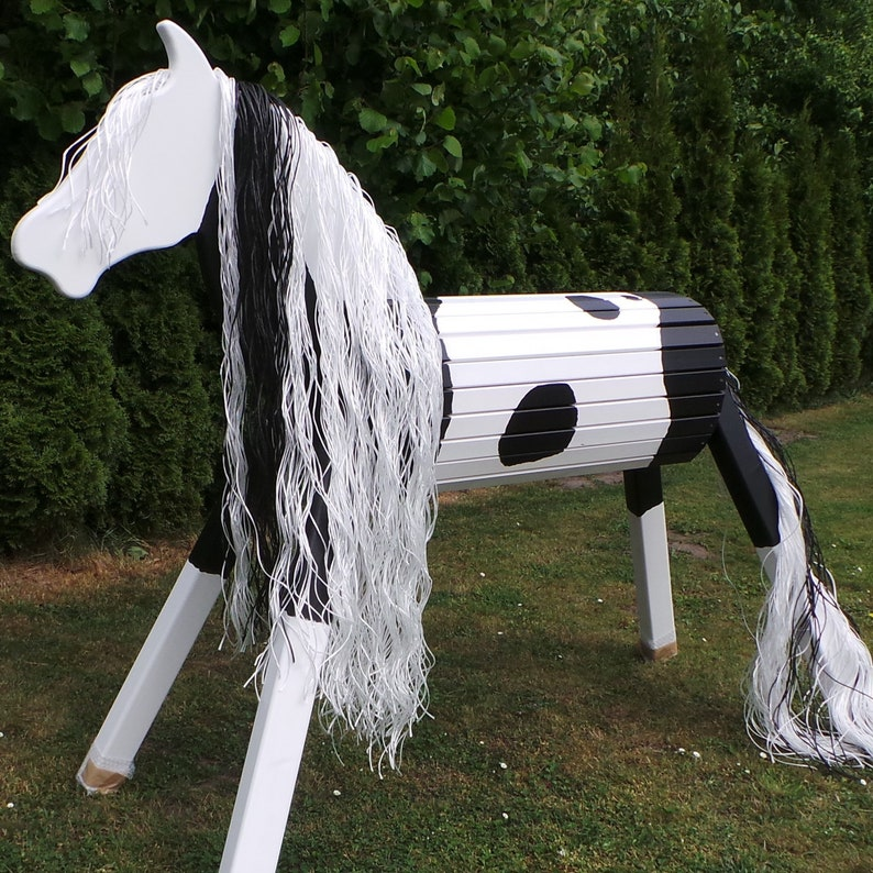 120cm Holzpferd Holzpony Voltigierpferd Spielpferd Pferd Pony Rappe mit Maul NEU Schaukelspielzeug