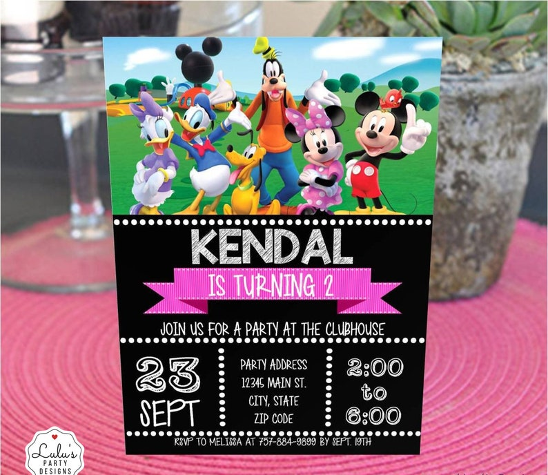 Mickey Mouse Clubhouse Party Invitation Design Download Invite Group Minnie Donald Goofy Daisy Birthday DIY