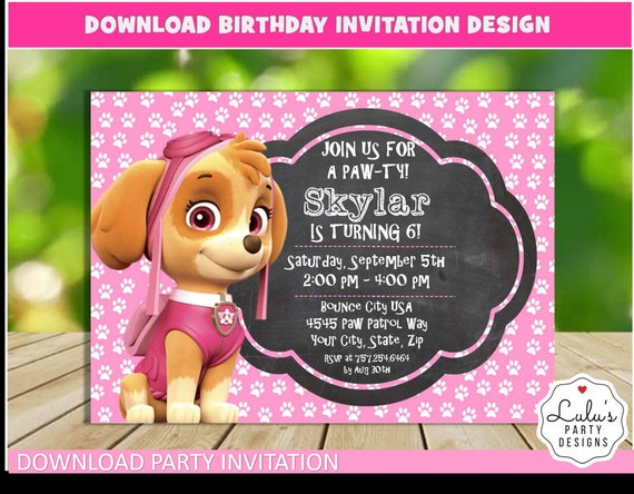 Skye Invitation Design Paw Patrol Themed