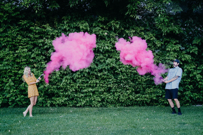 Color Powder Gender Reveal >> Gender Reveal Smoke Powder Cannons Premium Holi Color Powder Cannon Pink Or Blue